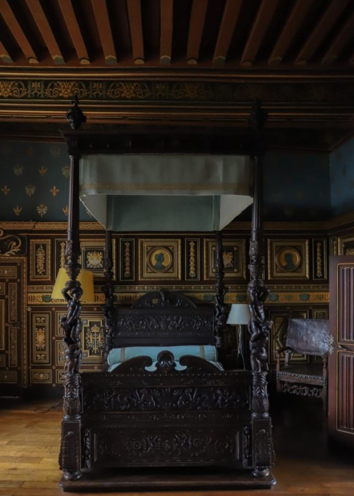 four poster bed in french chateau