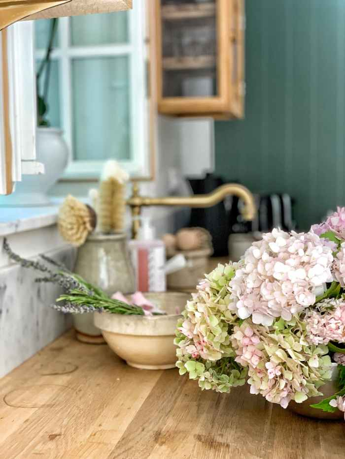 flowers on a counter