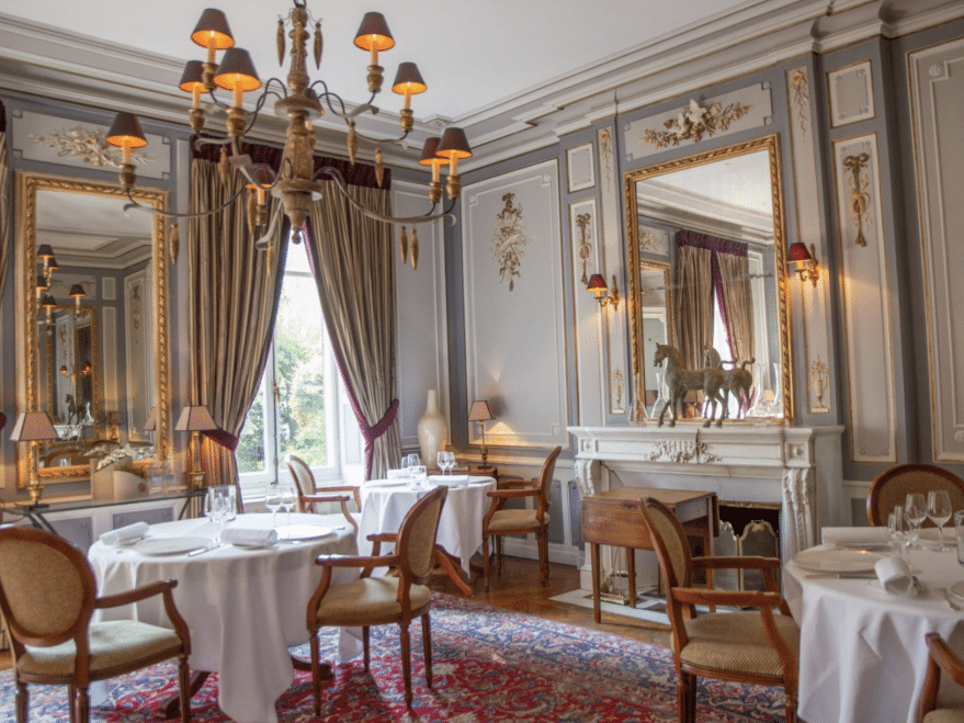 interior of a fancy French restaurant