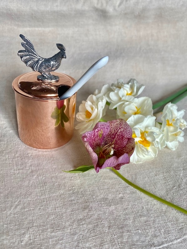 copper mustard pot with porcelain spoon