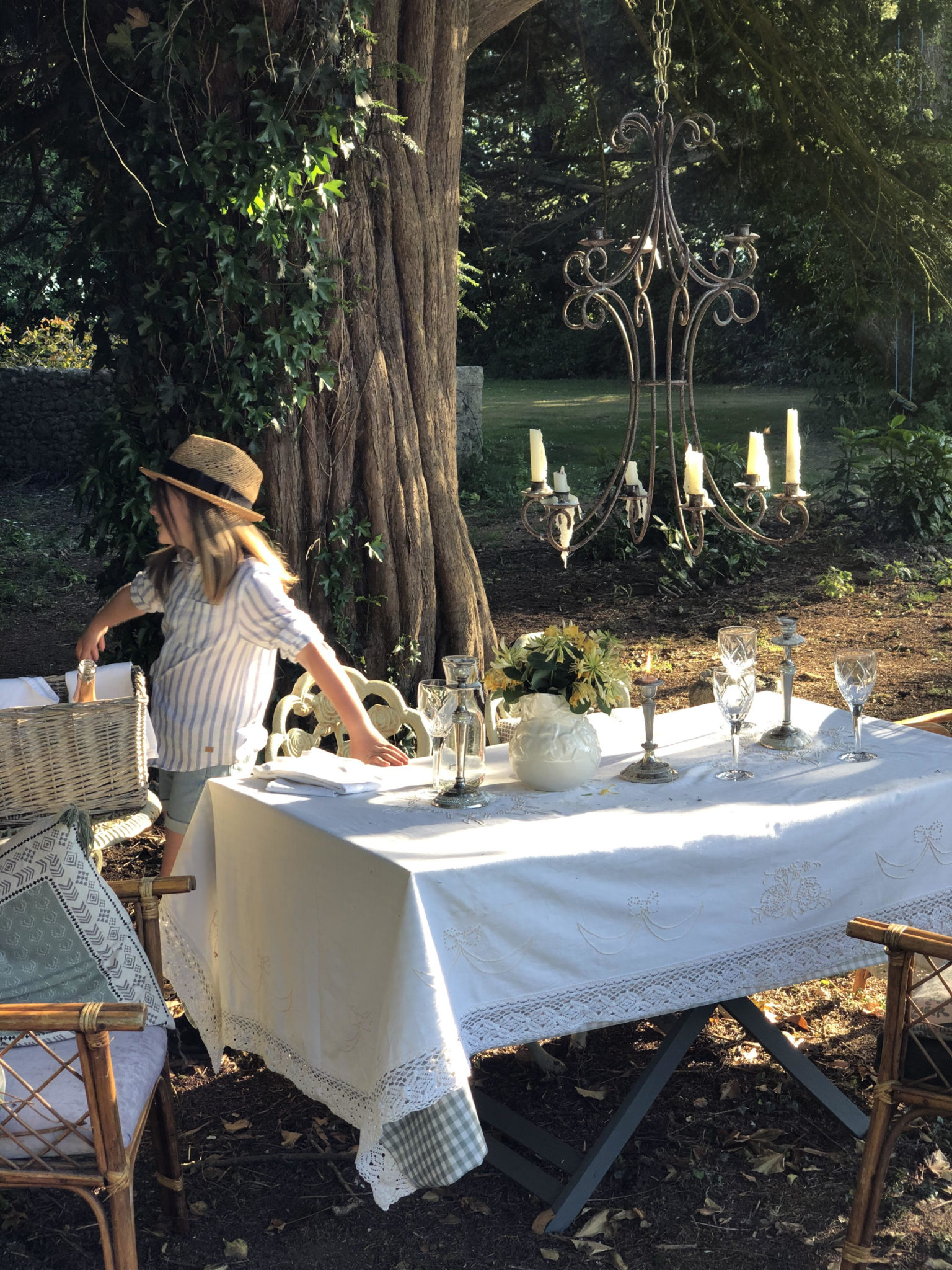 tablescape with child in hat