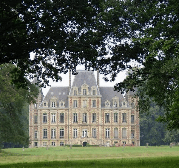french chateau and lawn