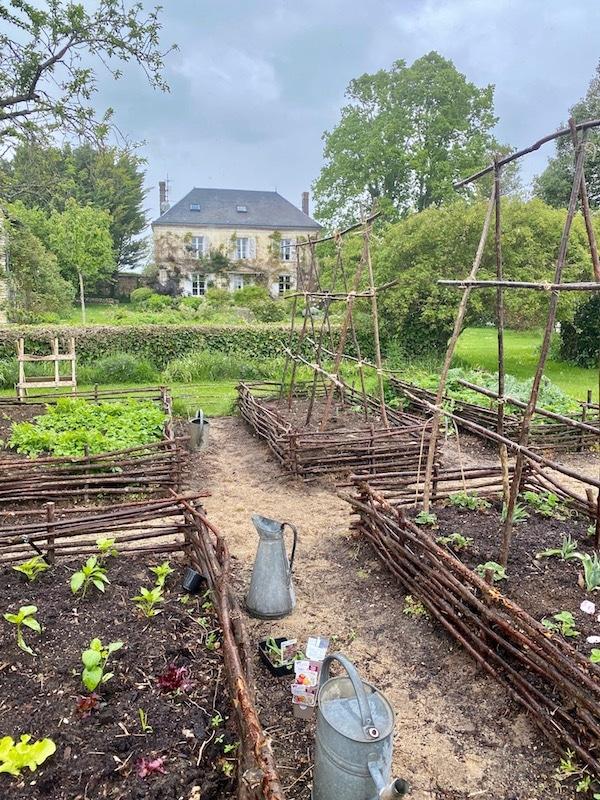 kitchen garden with house
