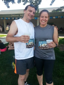 Finishers with beer.