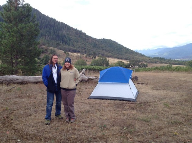 Us with the tent at Wooldridge Creek Winery