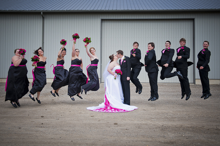Bridal party jumping - Elgin County Aylmer wedding photographer