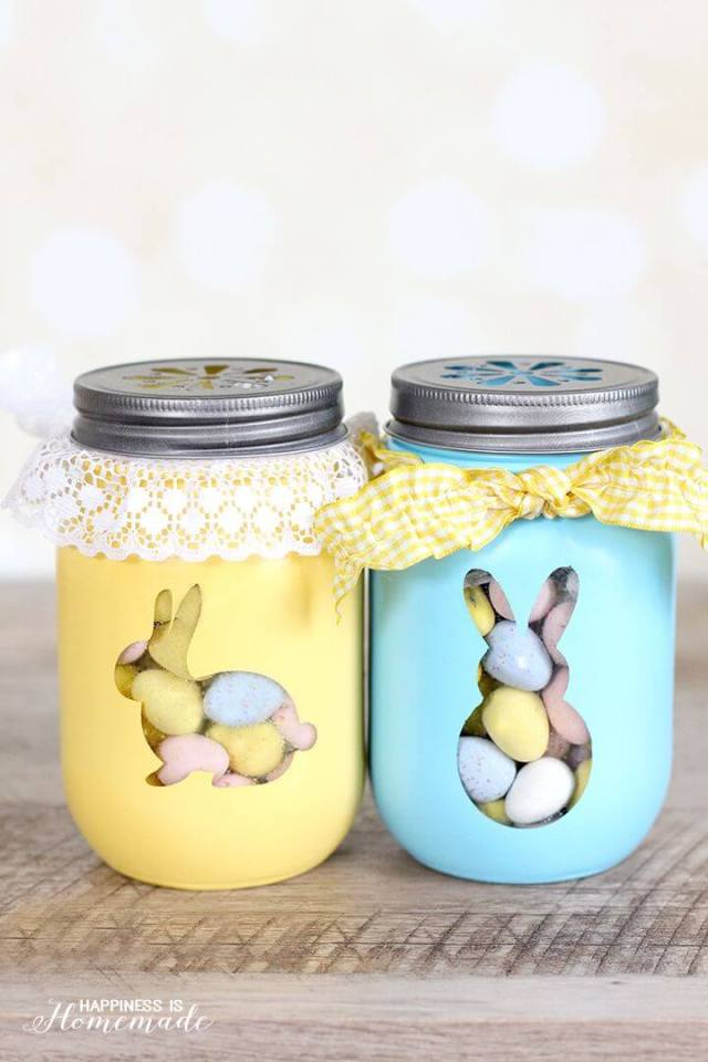 Easy Easter Decorations For The Home: Easter Mason Jars | Are you looking for DIY Easter decorations ideas? These homemade Easter decorations include Easter decor ideas with eggs, Easter centrepieces, Easter decorations table and so much more! Plus, if you're after Easter crafts for adults, Easter crafts kids or Easter crafts decorations, these ideas are brilliant. #easterdecorations #eastercrafts #easterdecor #diy #masonjars #homemade