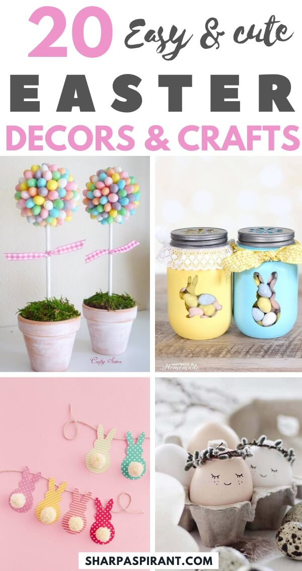 Easy Easter Decorations For The Home: Are you looking for DIY Easter decorations ideas? These homemade Easter decorations include Easter decor ideas with eggs, Easter centrepieces, Easter decorations table and so much more! Plus, if you're after Easter crafts for adults, Easter crafts kids or Easter crafts decorations, these ideas are brilliant. #easterdecorations #eastercrafts #easterdecor #diy #masonjars #homemade