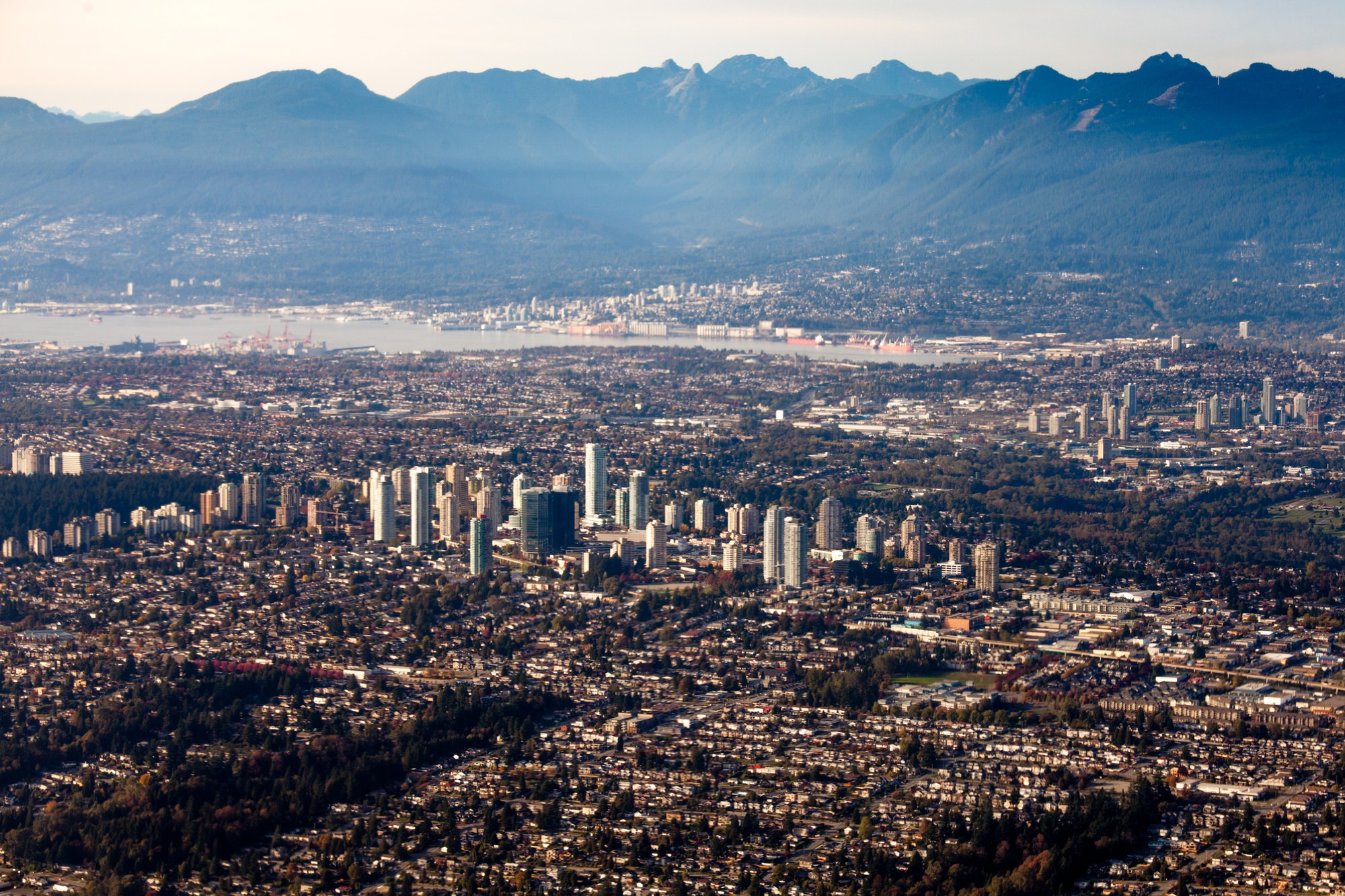 Vancouver City Lower Mainland Fraser Valley aerial
