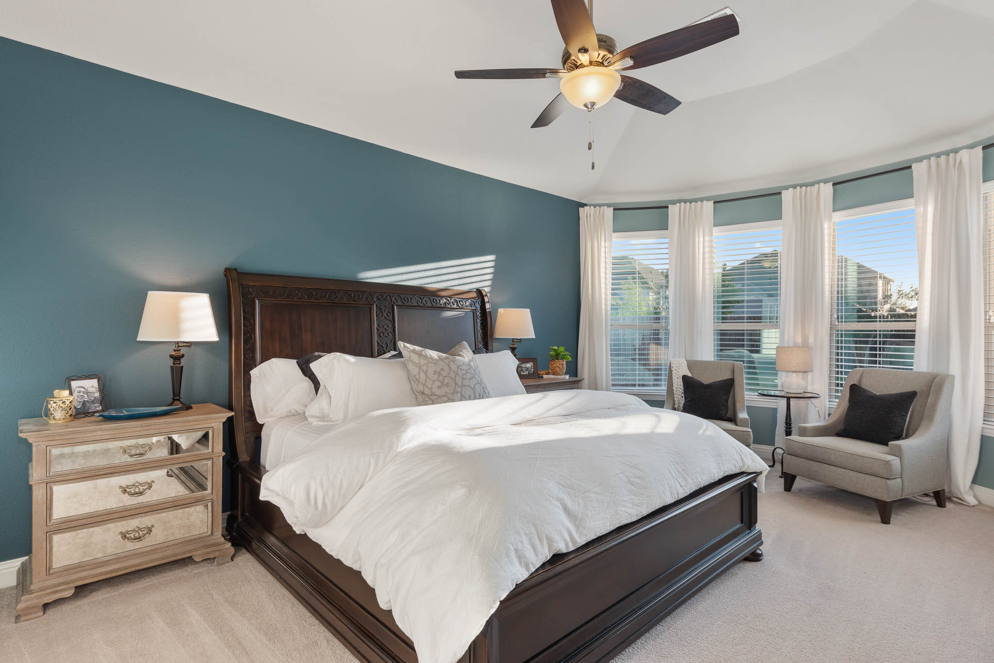 Master suite with accent wall