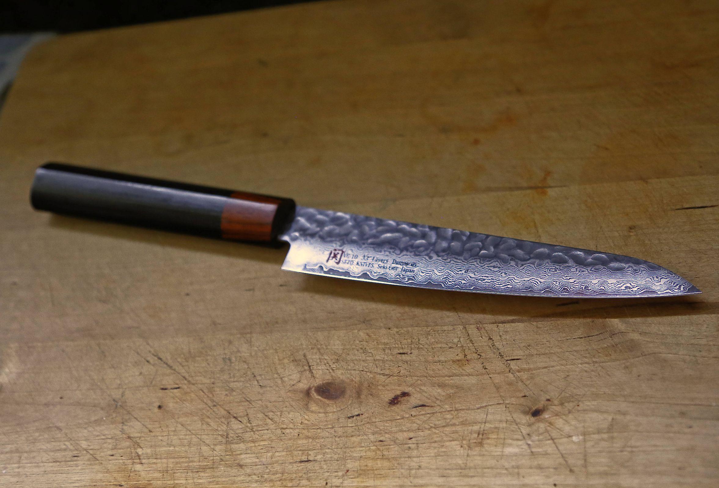 Japanese Seto Petty Knife, Damascus Forged Steel, 33 layers