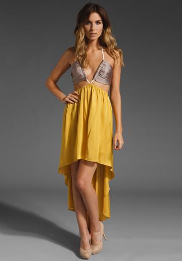 yellow drop hem dress