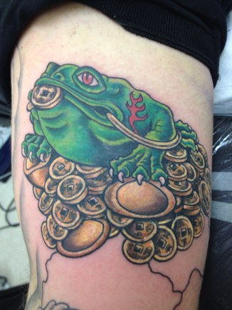 Money frog tattoo