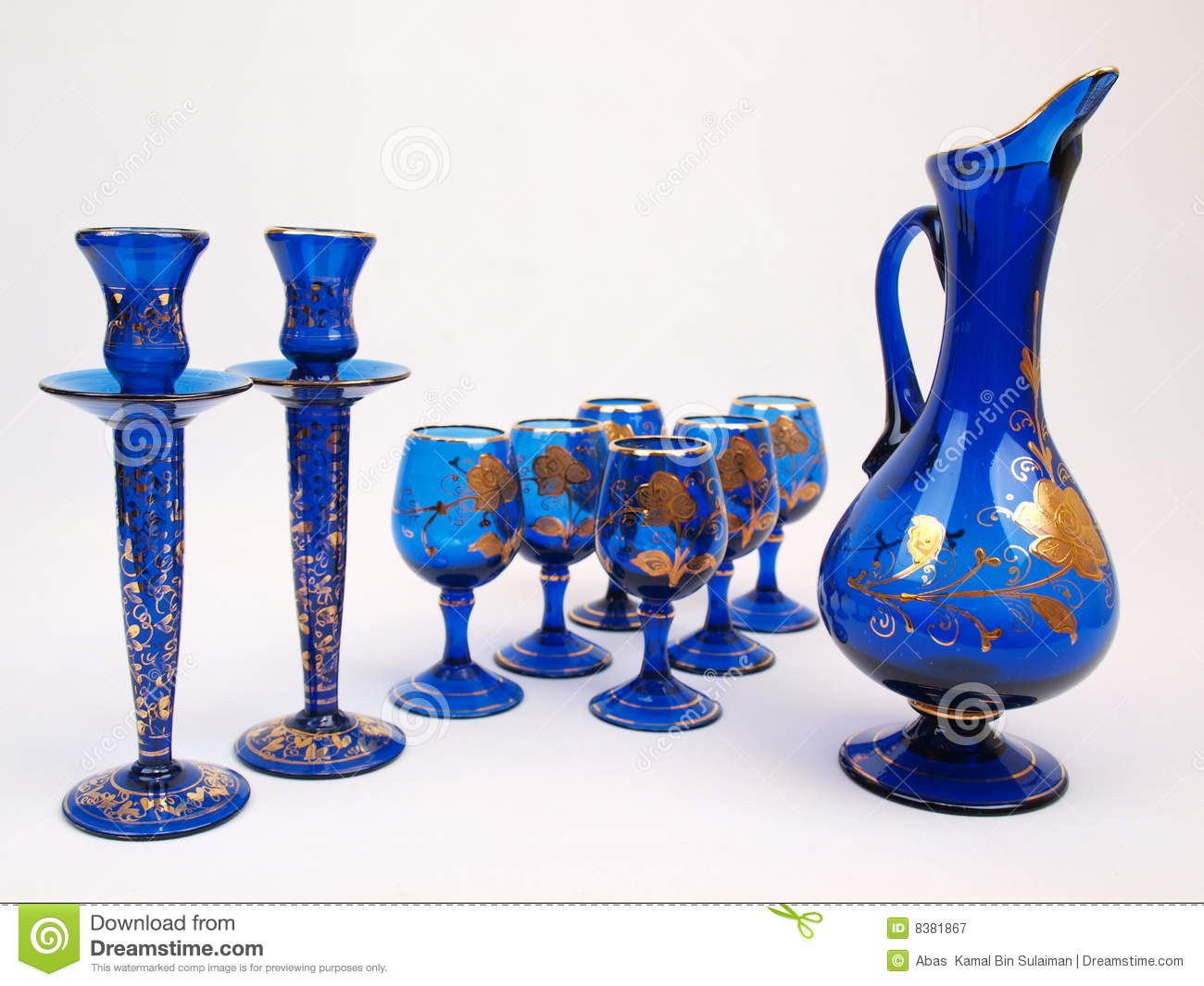 Best Blue Gold Crystal Deco Glass Items Jug Royalty Free Stock This Month