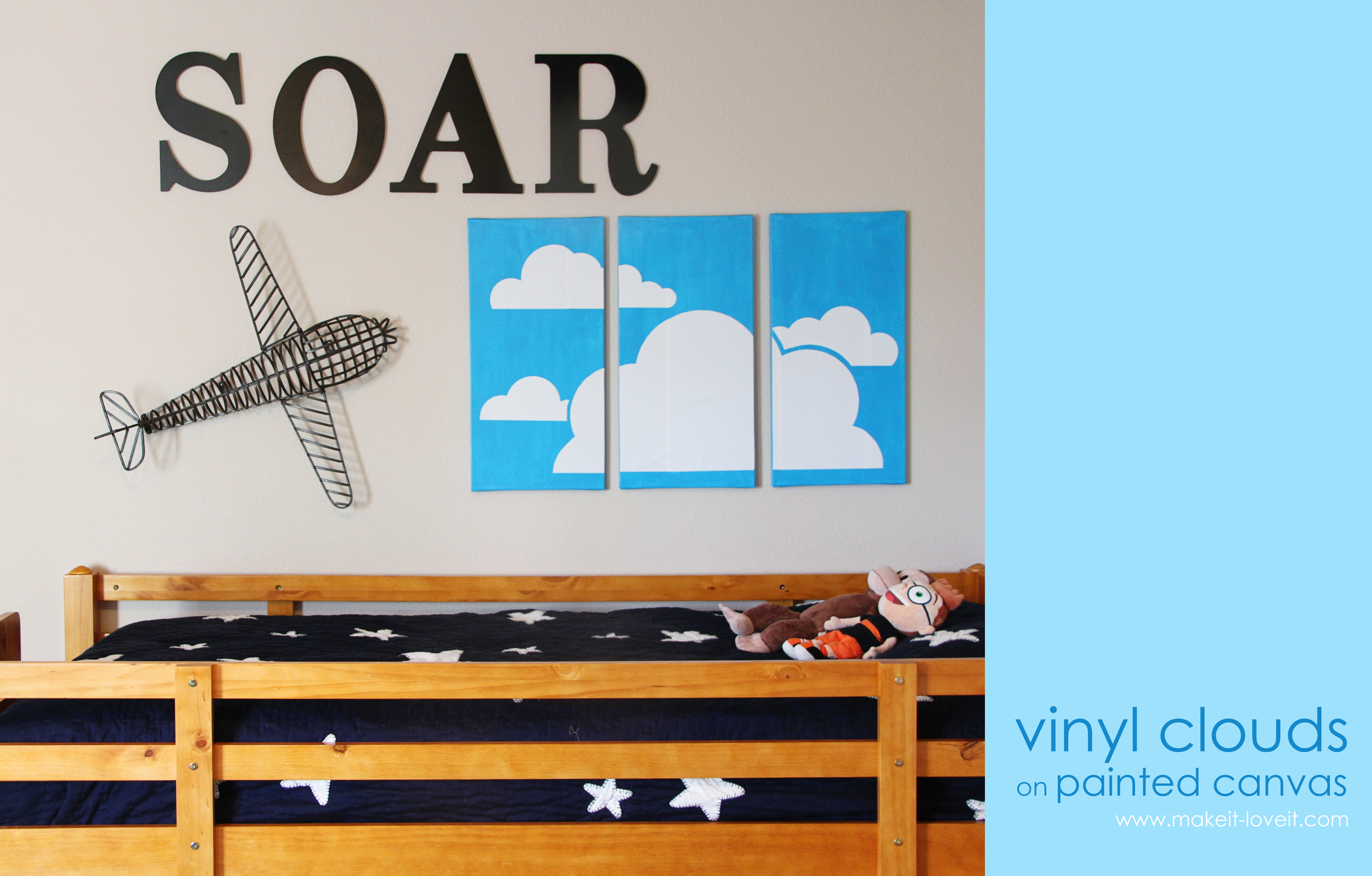 Best Vinyl Clouds On Painted Canvas Boys Room Wall Decor This Month