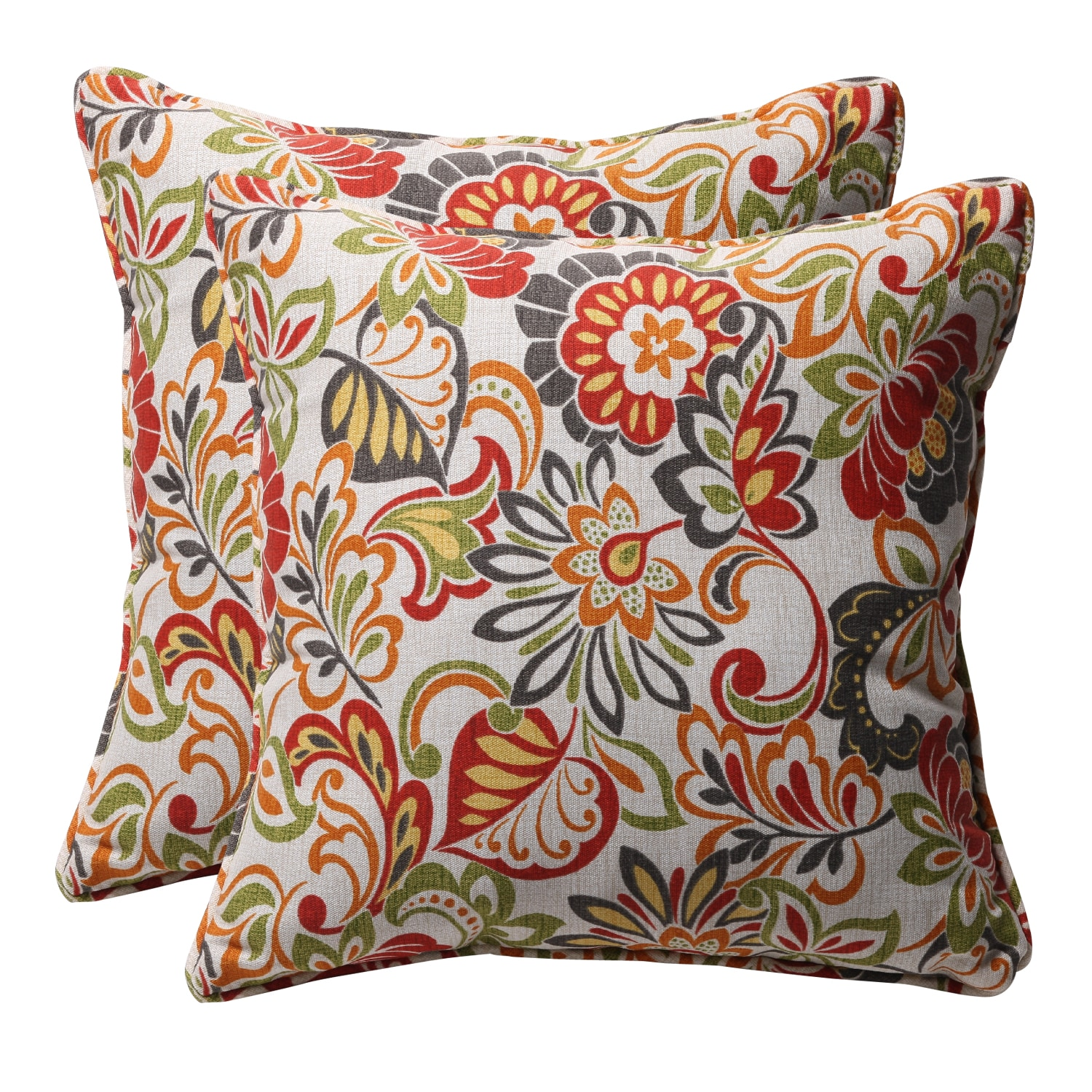 Best Multicolored Floral Square Outdoor Toss Pillows Set Of 2 This Month