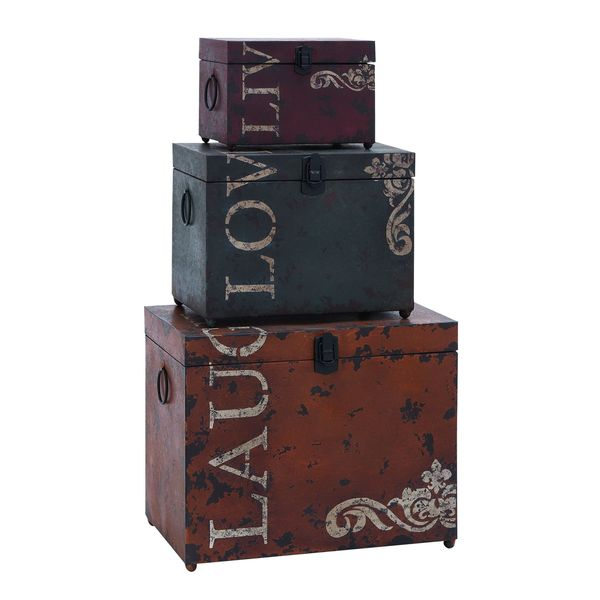 Best Iron Storage Trunk Set Stacking Boxes Decorative Live Love This Month