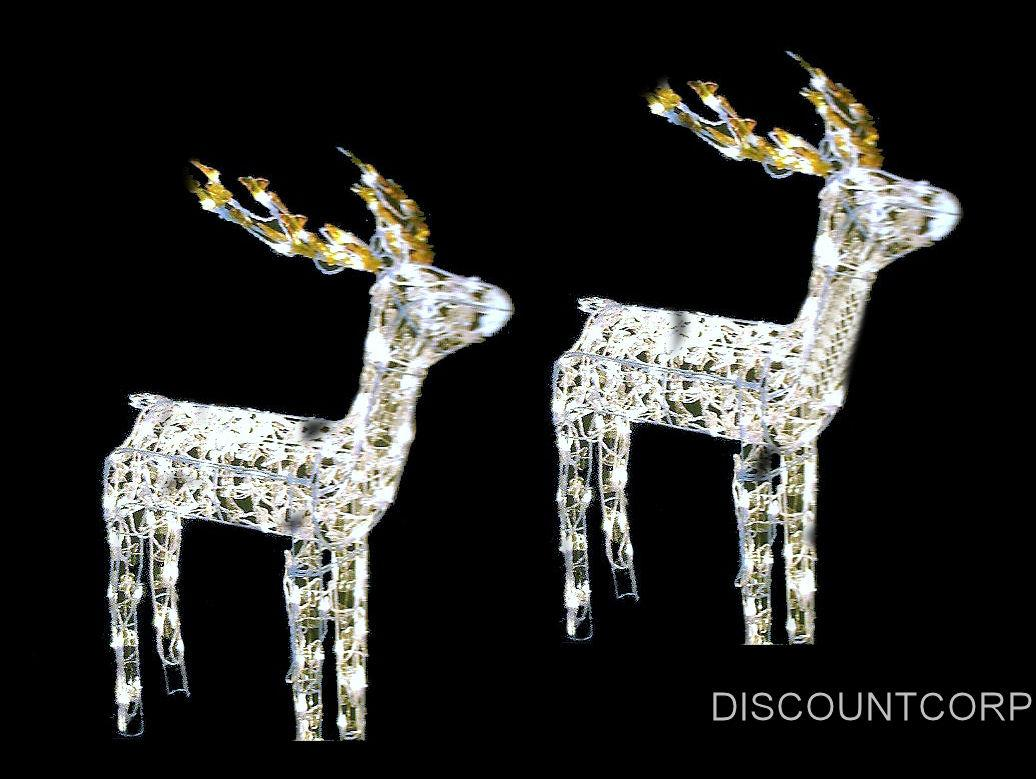 Best Lighted 2 Piece Indoor Outdoor Wire Deer Sleigh Set This Month