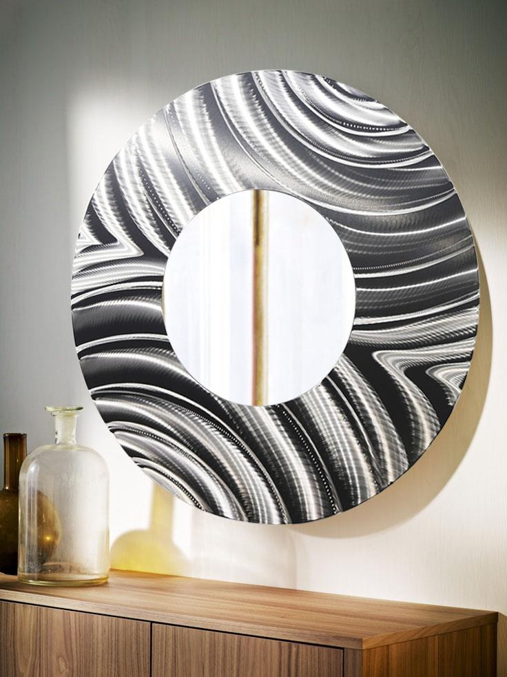 Best Large Round All Silver Metal Wall Mirror Modern Wall Art This Month