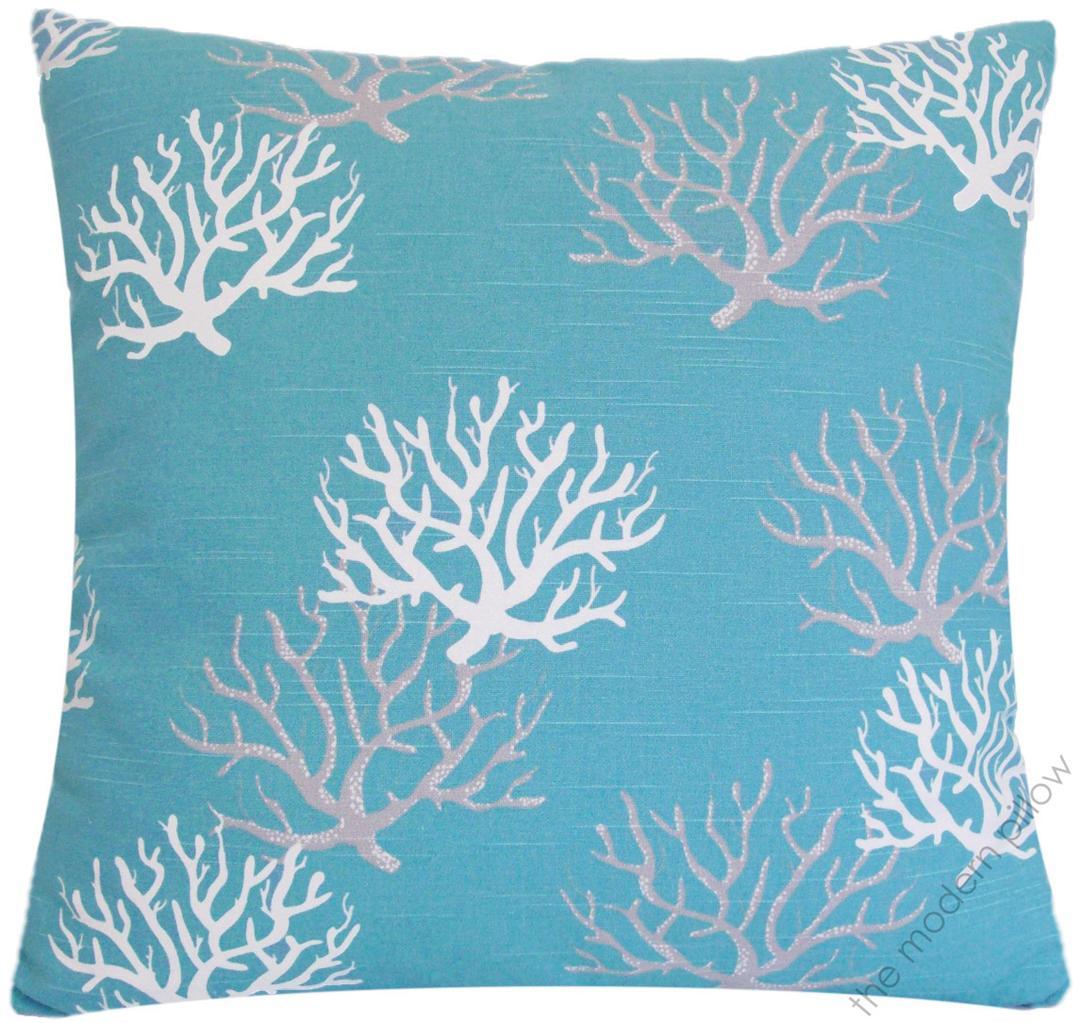 Best Aqua Gray White Coral Decorative Throw Pillow Cover This Month