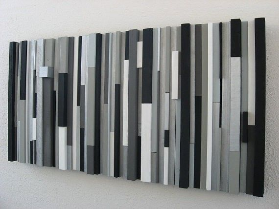 Best Custom Modern Wood Wall Art Sculpture Black White Greys This Month