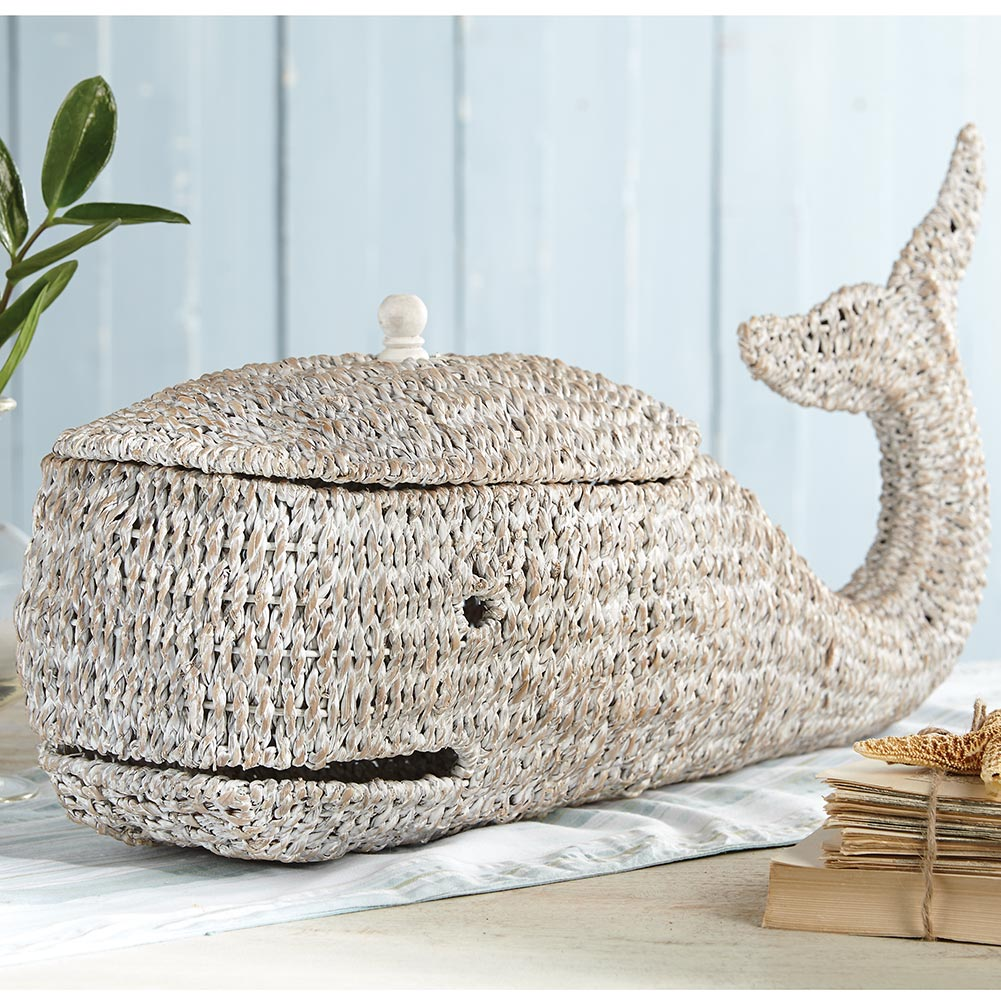 Best Decorative Hand Woven White Whale 25 Long Wicker Basket This Month