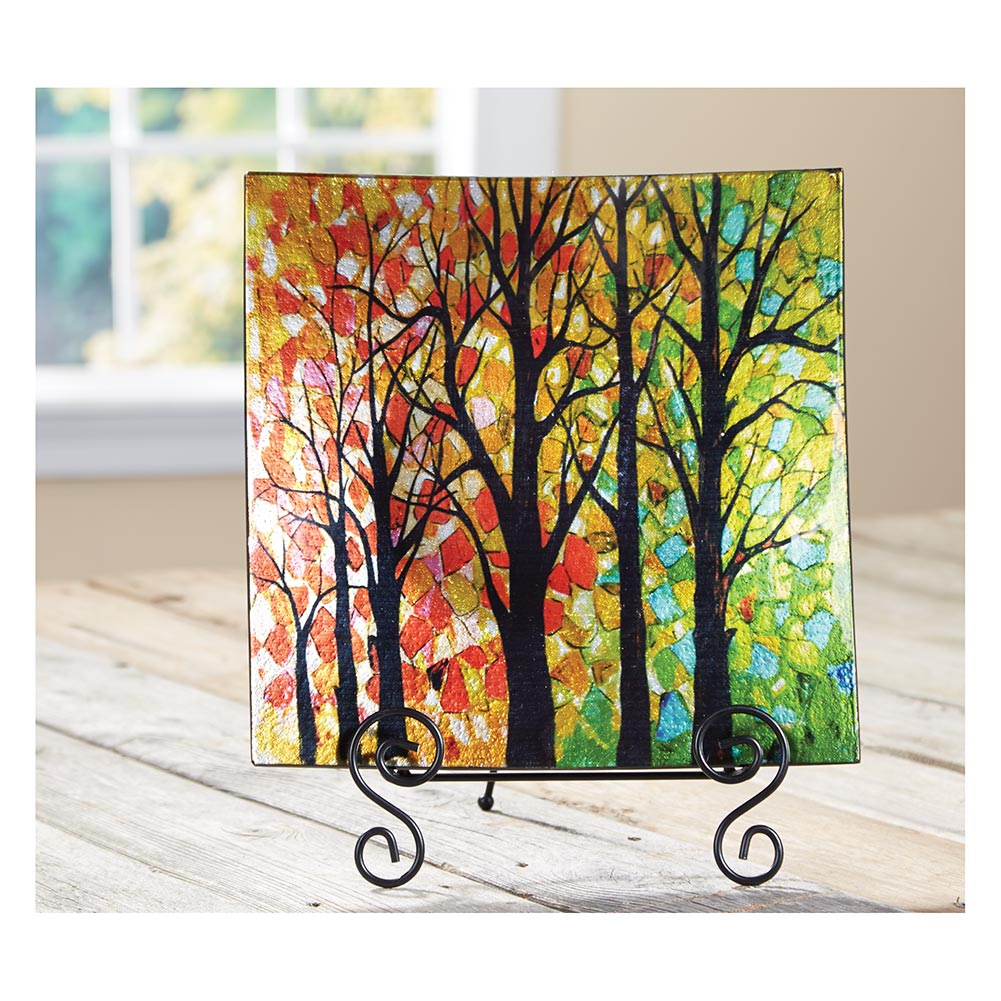 Best Colorful Walk In The Woods Decorative Glass Plate Easel This Month