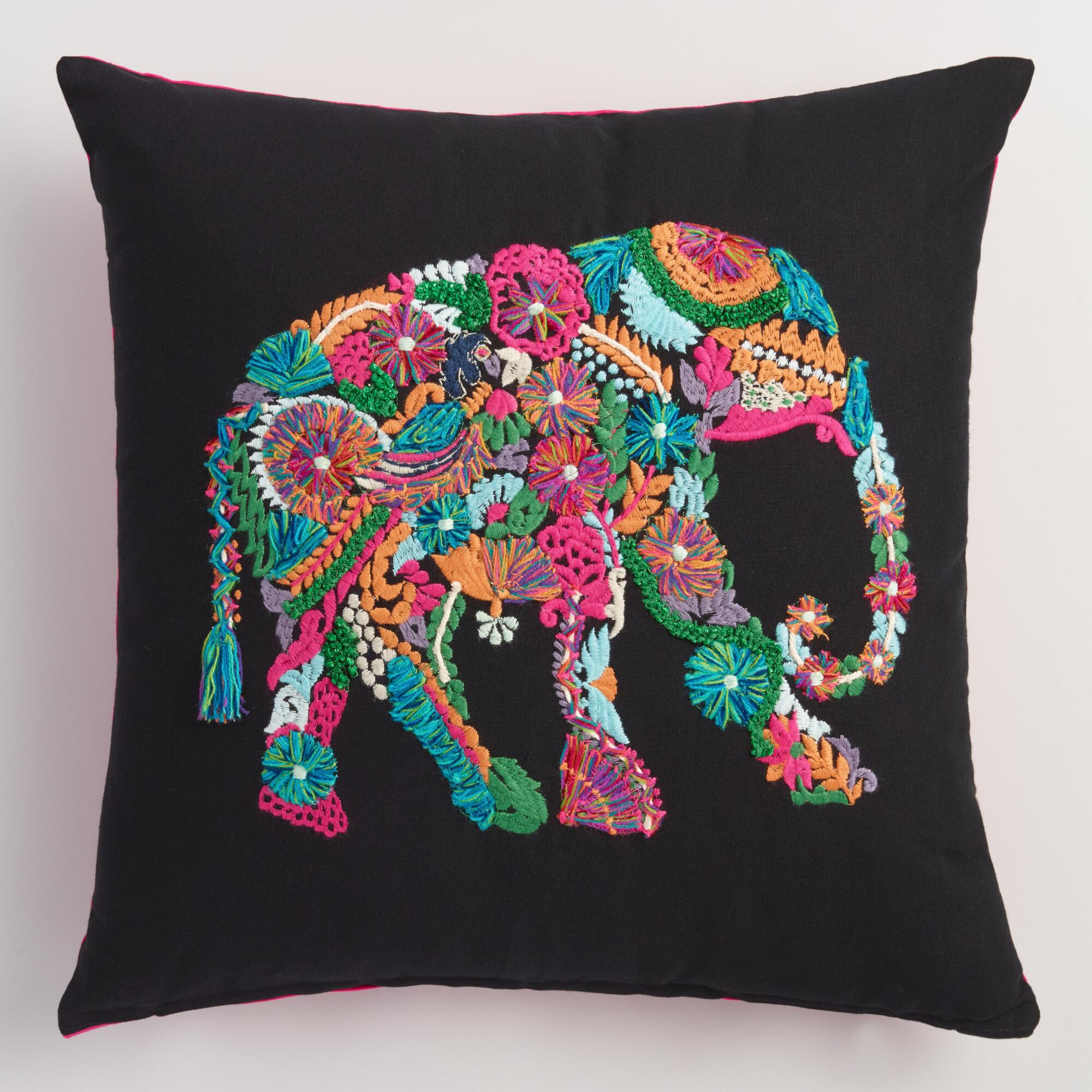 Best Embroidered Elephant Throw Pillow World Market This Month