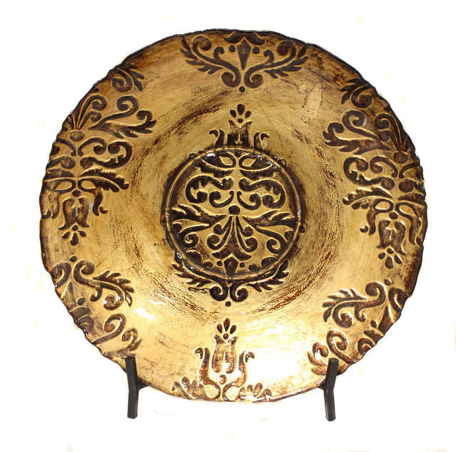 Best Gold Toledo Bowl Decorative Art Glass Plate With Display This Month
