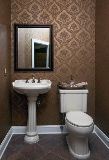 Best Wallpapered Powder Room Traditional Powder Room New This Month