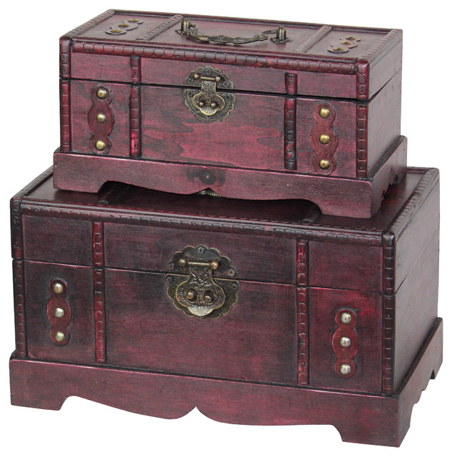Best Antique Wooden Trunk Old Treasure Chest Set Of 2 Rustic This Month