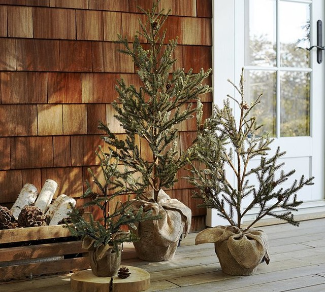 Best Faux Led Lit Potted Pine Tree Contemporary Christmas This Month