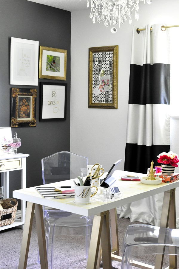 Best Black White Gold Home Office Reveal Monica Wants It This Month