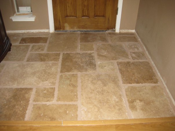 Best Once Upon A Cedar House Installing Travertine Tile In The This Month