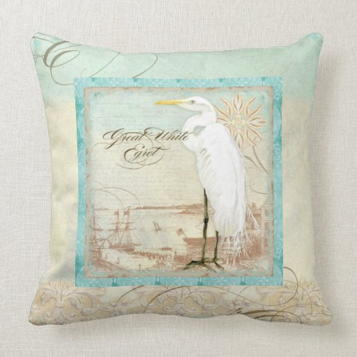 Best Great White Egret Coastal Beach Home Decor Pillow Zazzle This Month