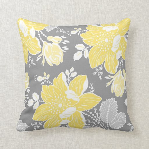 Best Yellow Gray White Floral Decorative Pillow This Month