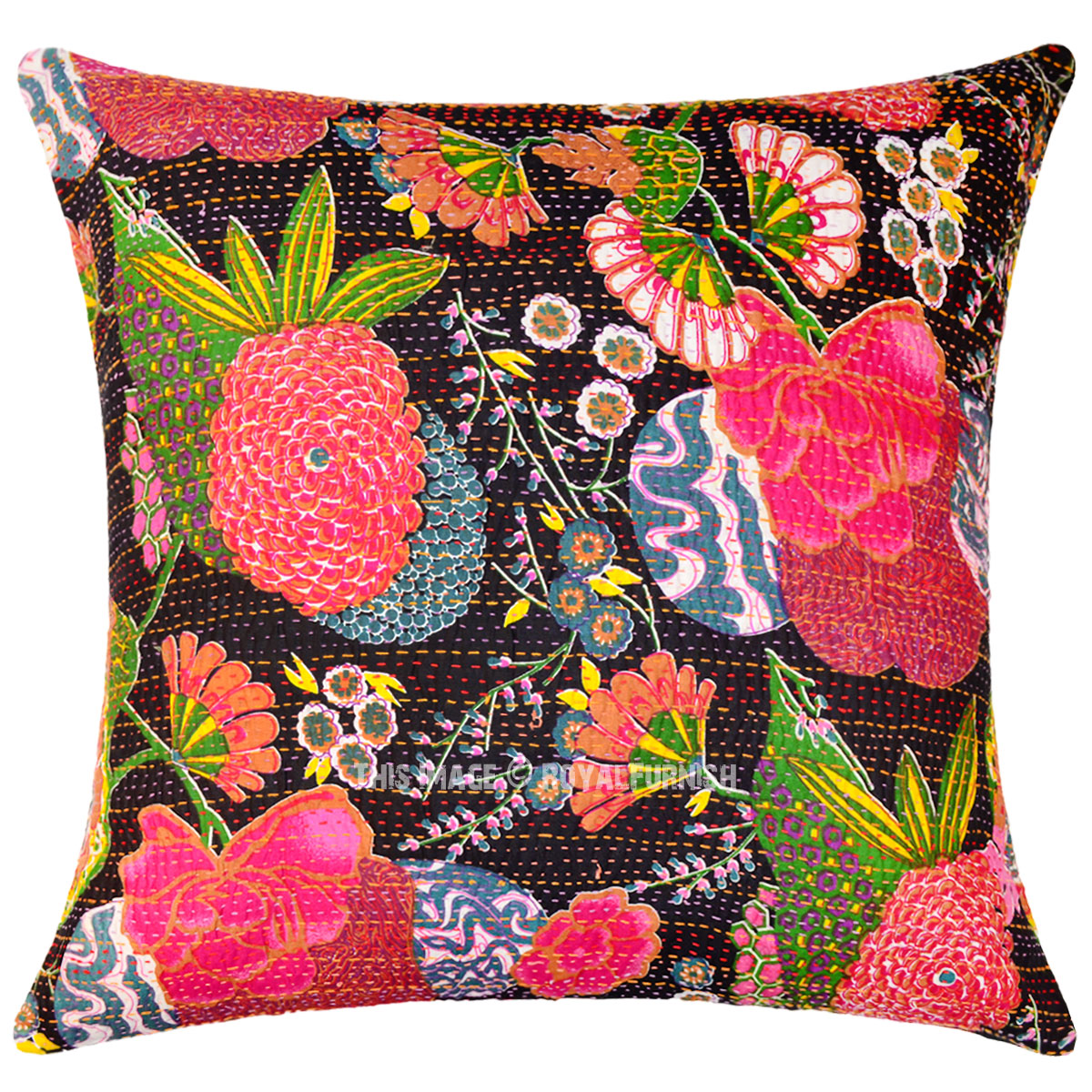 Best Giant Large 24X24 Decorative Boho Accent Cotton Kantha This Month