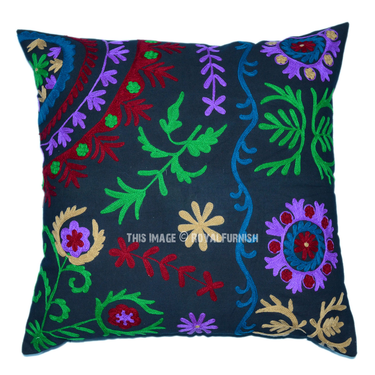 Best Black 24X24 Suzani Embroidered Throw Pillow Cover This Month