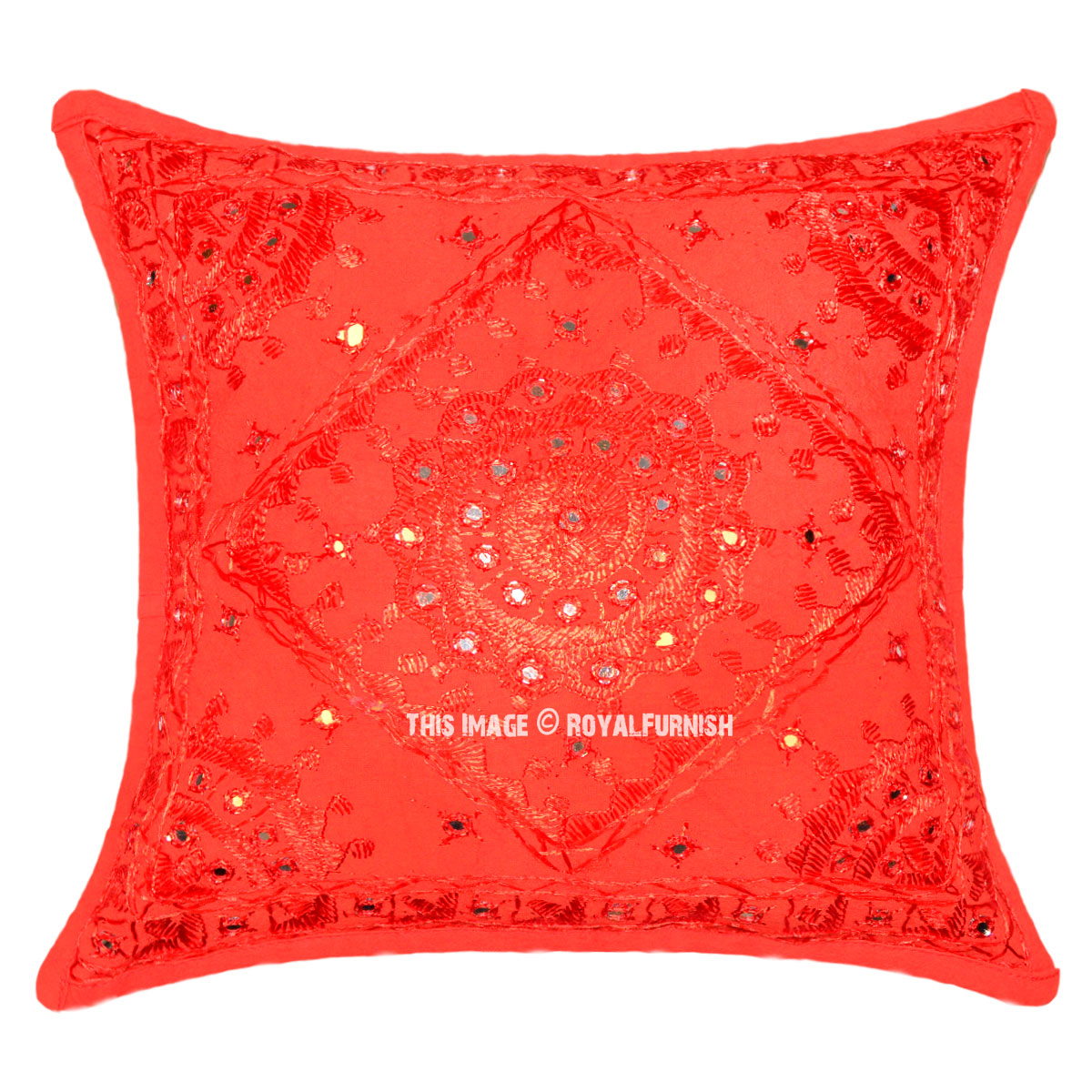 Best Vibrant Red Star Mirror Embroidered Decorative Square This Month