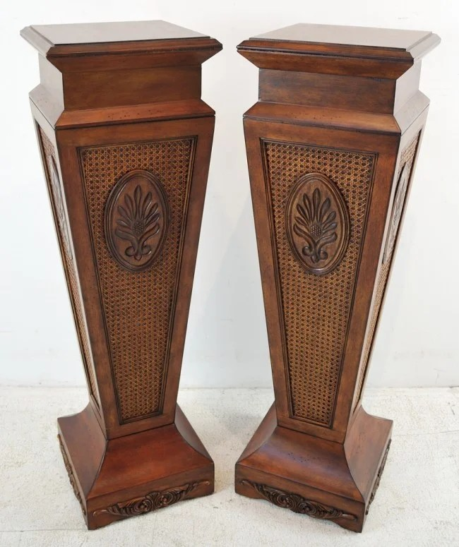 Best 190 Pair Of Decorative Wood Pedestals Lot 190 This Month