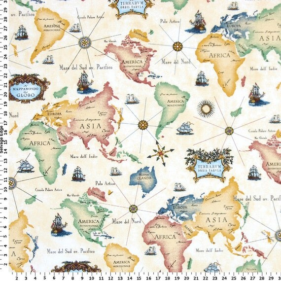 Best World Map Fabric Home Decor Fabric By Englesidemanor On Etsy This Month