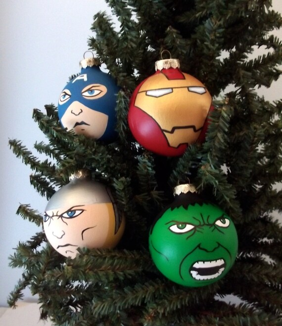 Best Avengers Painted Christmas Ornaments Set By Gingerpots On Etsy This Month