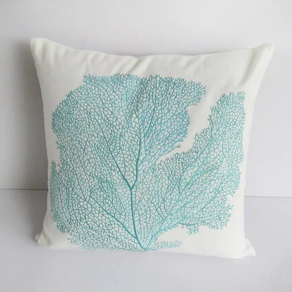 Best Decorative Aqua Blue Coral Pillow 20Inch By Comfyheavenpillows This Month