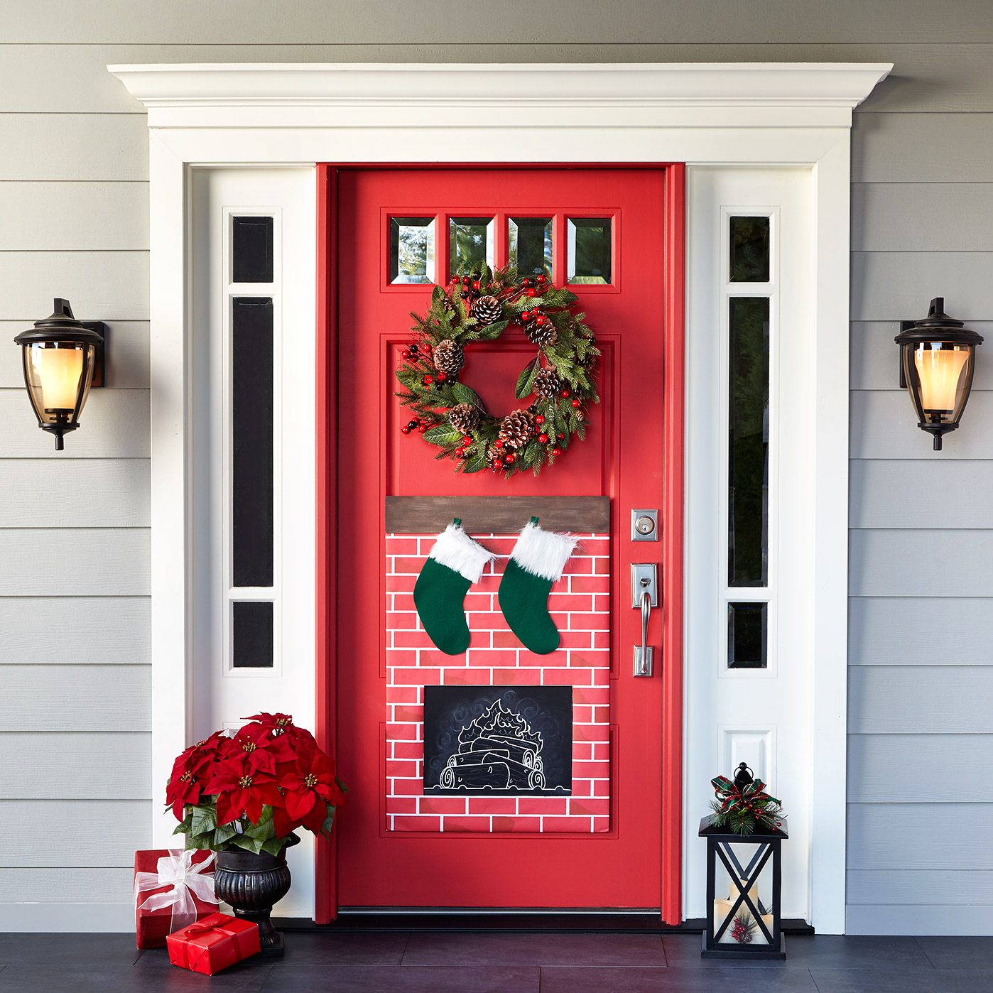 Best Christmas Fireplace Door Decor This Month