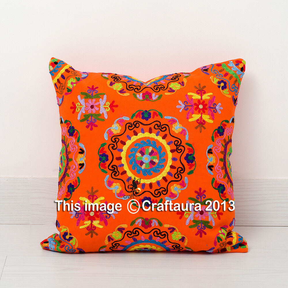 Best Indian Suzani Embroidered Pillow Cushion Cover Decorative This Month