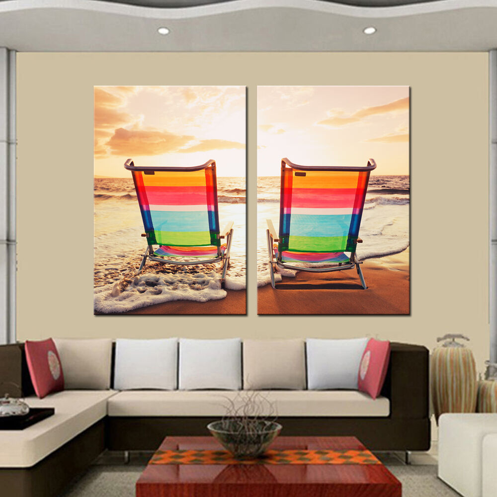 Best Hd Canvas Prints Painting Framed Abstract Sea Beach Chair This Month