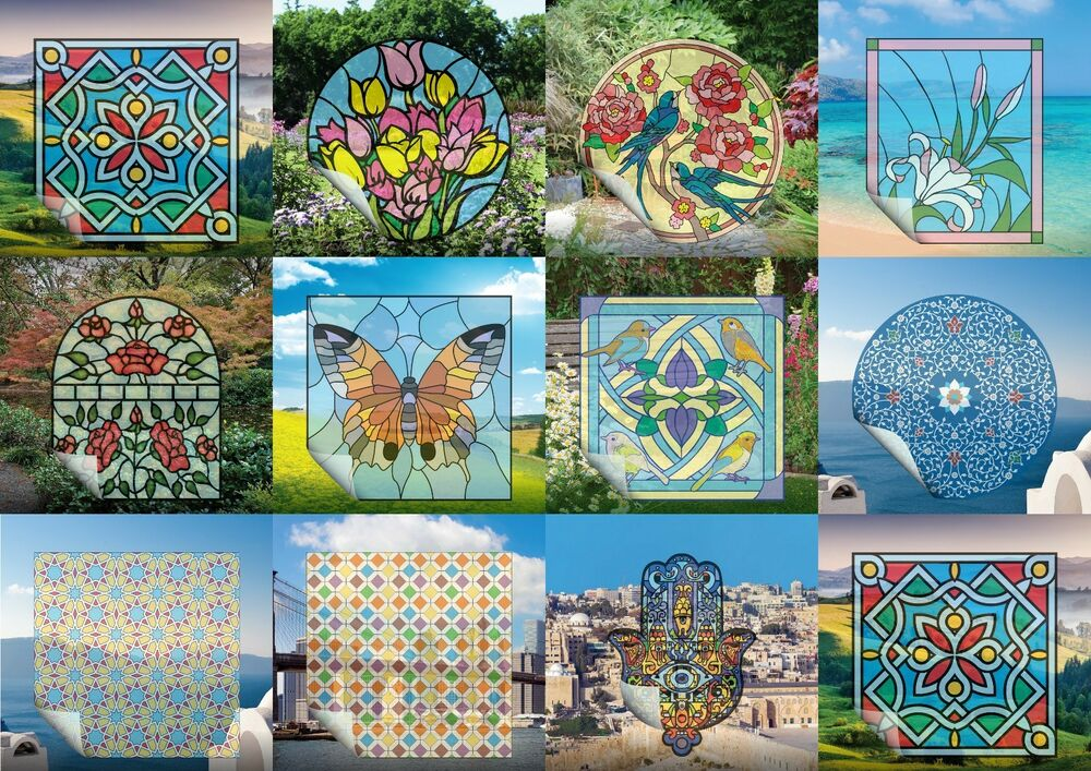 Best Set 2 Stained Glass Stickers Window Film Vinyl Tile Decals This Month