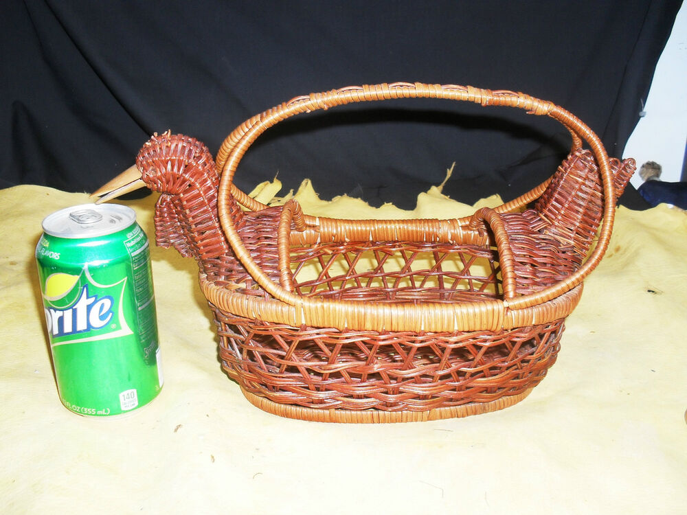 Best Decorative Hand Crafted Wicker Basket Duck Rooster Or This Month