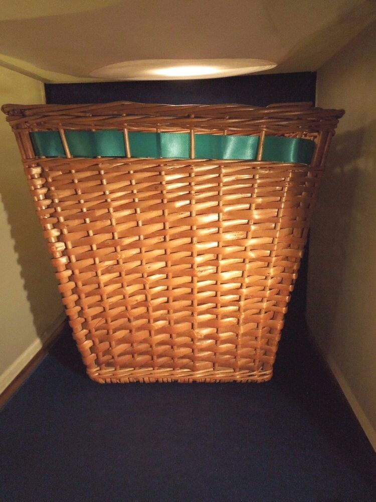 Best Vintage Woven Wicker Basket With Ribbon Handles Rings This Month