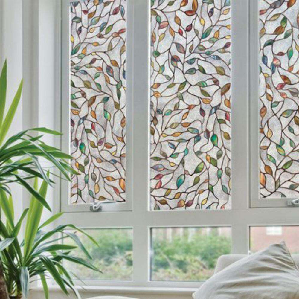 Best 3D Leaf Static Cling Stained Glass Window Film Window This Month